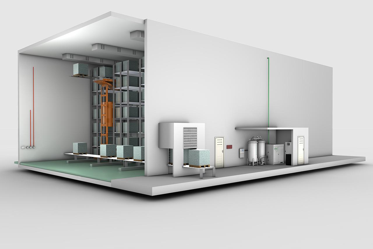 3D Grafik: WAGNER Brandschutzlösungen für Tiefkühllager